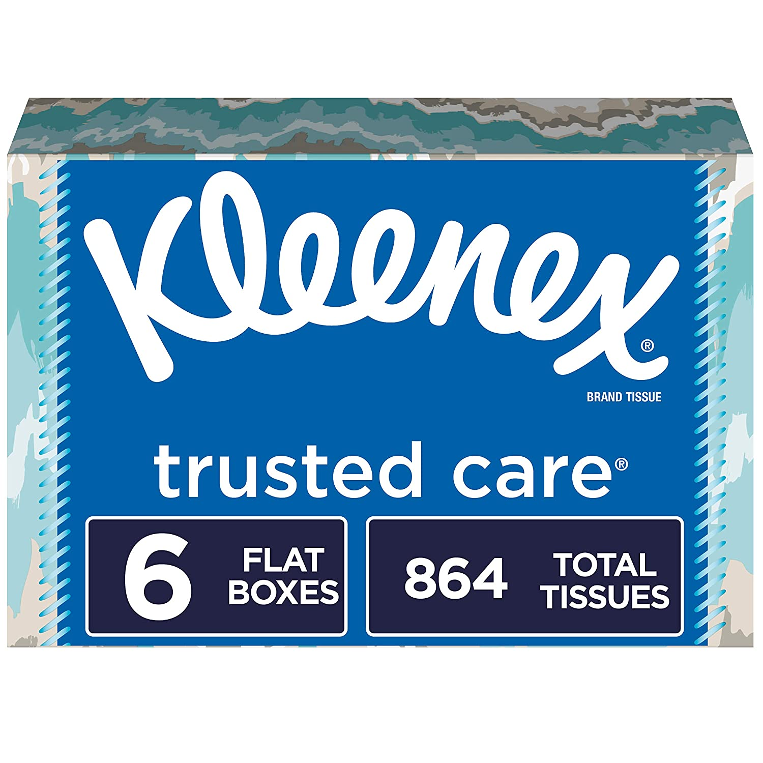 Kleenex Trusted Care Facial Tissues, 144 Tissues per Box,6 Flat Boxes