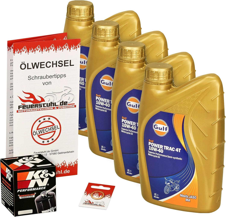 Gulf 10w 40 Öl K N Ölfilter Für Honda Cbr 600 F 87 00 Pc19 Pc23 Pc25 Pc31 Pc35 Ölwechselset Inkl Motoröl Filter Dichtring Auto