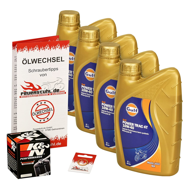 Ölwechselset Gulf Power Trak 10W-40 Öl + K&N Ölfilter für Suzuki GSF 1200 Bandit /S, Bj. 96-06 (Typ GV75A A9 CB); Motoröl + Filter + Dichtring Feuerstuhl.de