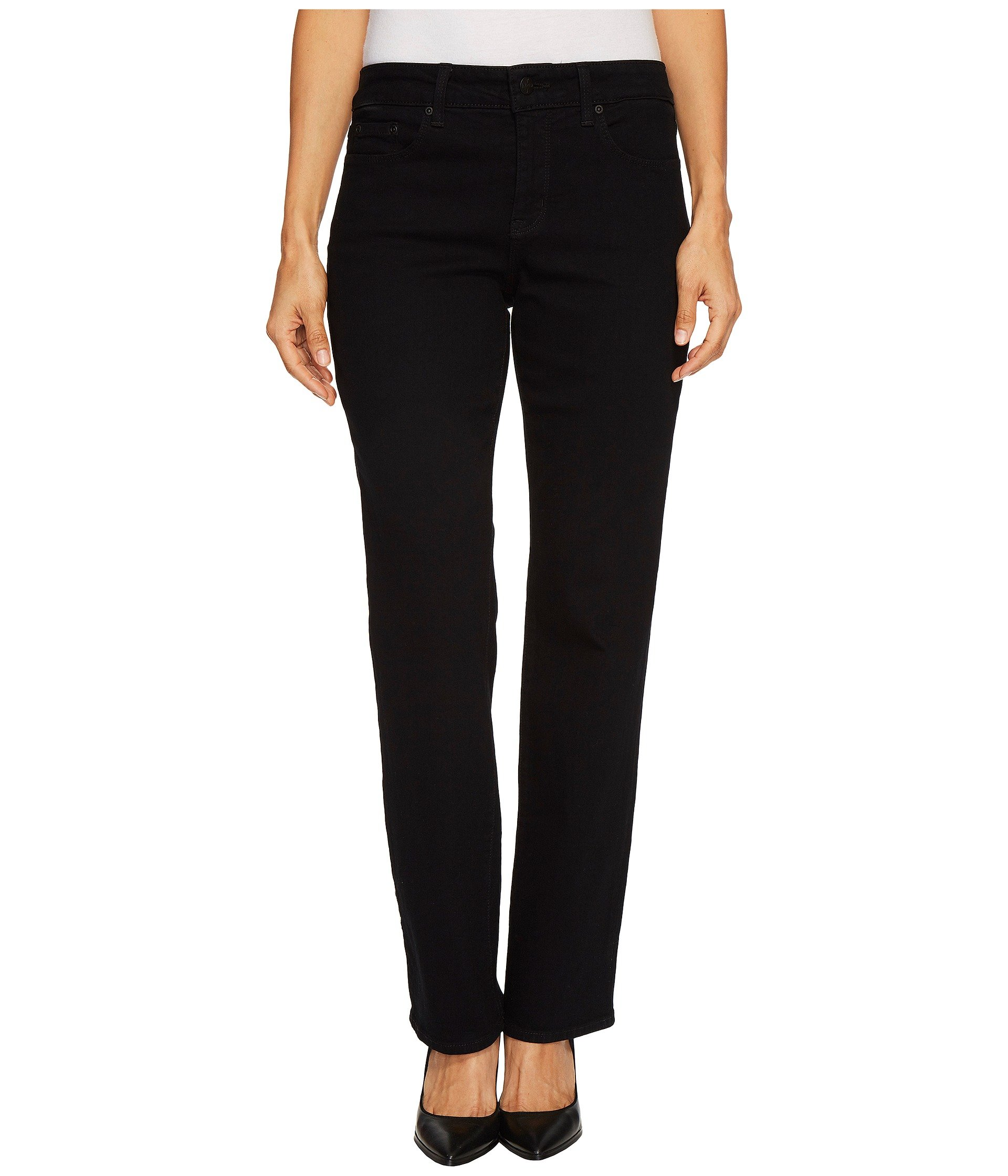 NYDJ Women's Petite Size Marilyn Straight Leg Jeans, Dark Black, 10P
