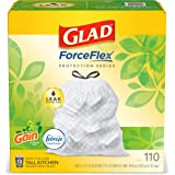 Glad ForceFlex Protection Series Tall Trash Bags, 13 Gal, Gain Original with Febreze, 110 Ct (Package May Vary)