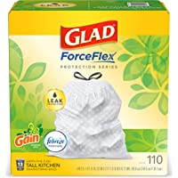 Glad ForceFlex Tall Kitchen Drawstring Trash Bags 13 Gallon White Trash Bag, Gain Original scent with Febreze Freshness…
