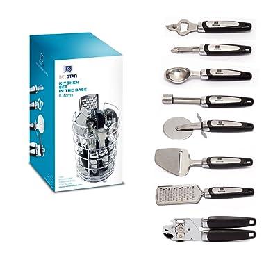 Kitchen utensil set by BEESTAR - 8 Piece Stainless Steel Kitchen Gadget Tool is Best Housewarming Gifts