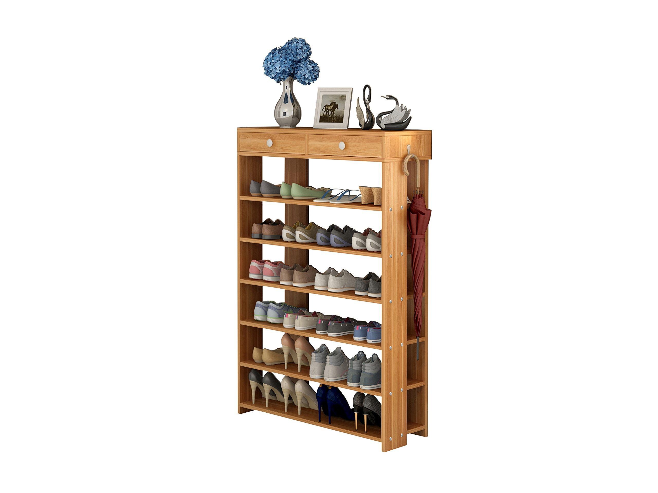 Polar Aurora Shoe Racks 7 Tiers Multi-function Economy Storage Rack Standing Shelf Organizer (Wood) by Polar Aurora (Image #1)