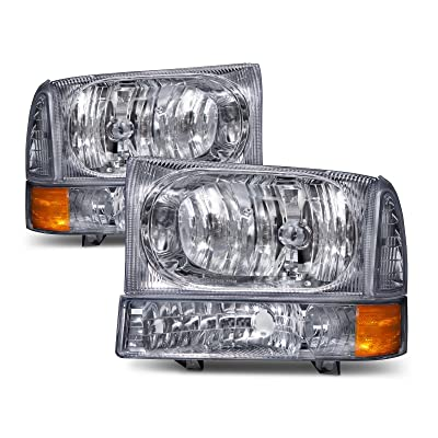 HEADLIGHTSDEPOT Chrome Headlight Park Signal Light Set Compatible with Ford Excursion F-250 F-350 F-450 F-550 Super Duty Excursion Includes Driver And Passenger Side Headlamps: Automotive