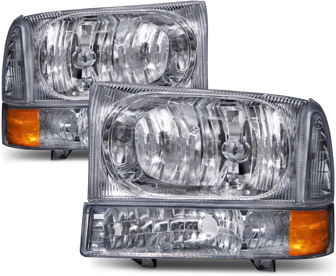 Fleetwood Discovery 2007-2013 RV Motorhome Pair Chrome Front Lamps Headlights with Bulbs Left /& Right