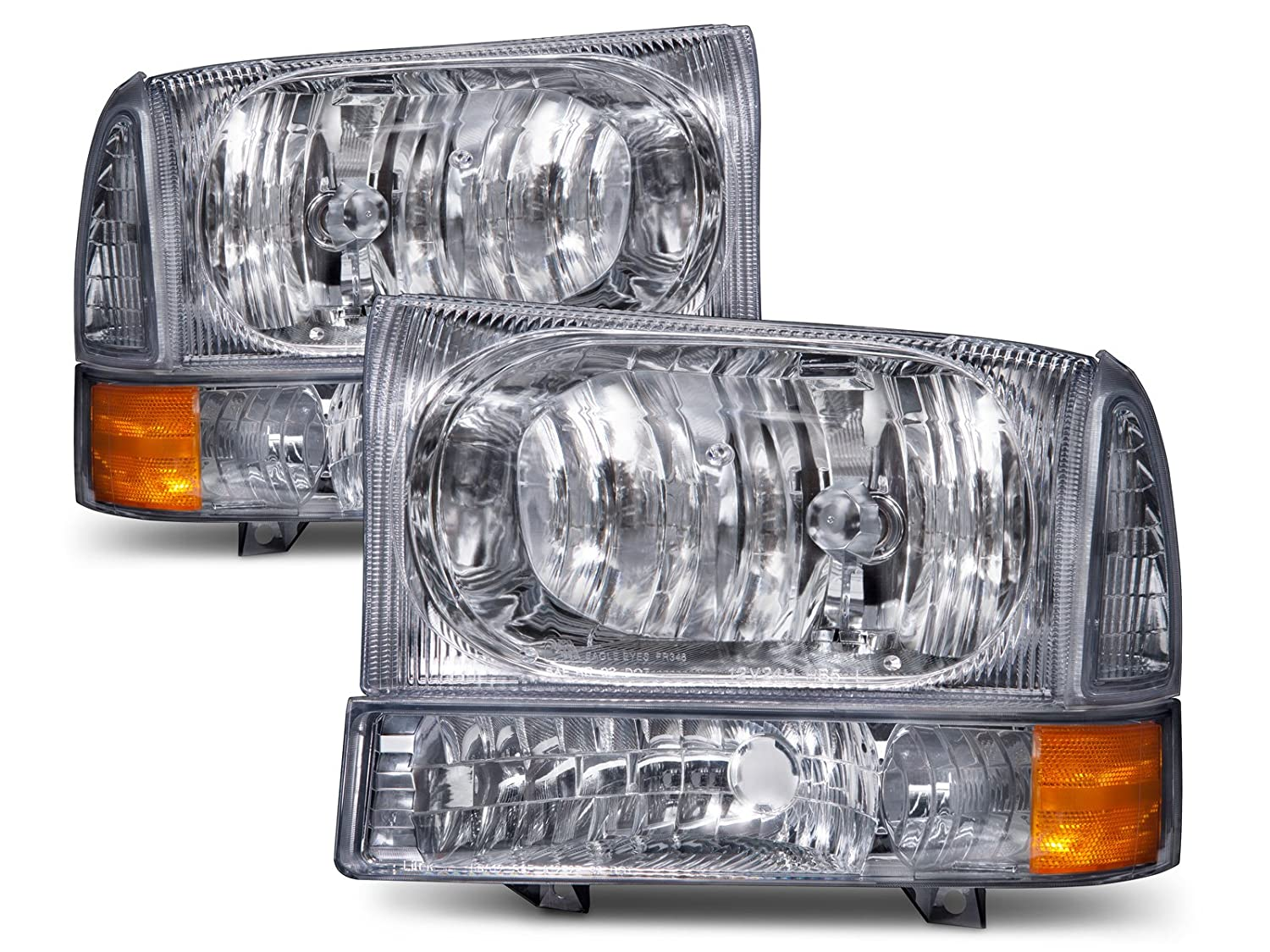 Headlights Depot Replacement for Super Duty/Excursion Euro Headlights 4 Piece Set Driver/Passenger Side HeadlightsDepot FO2502183 FO2503183