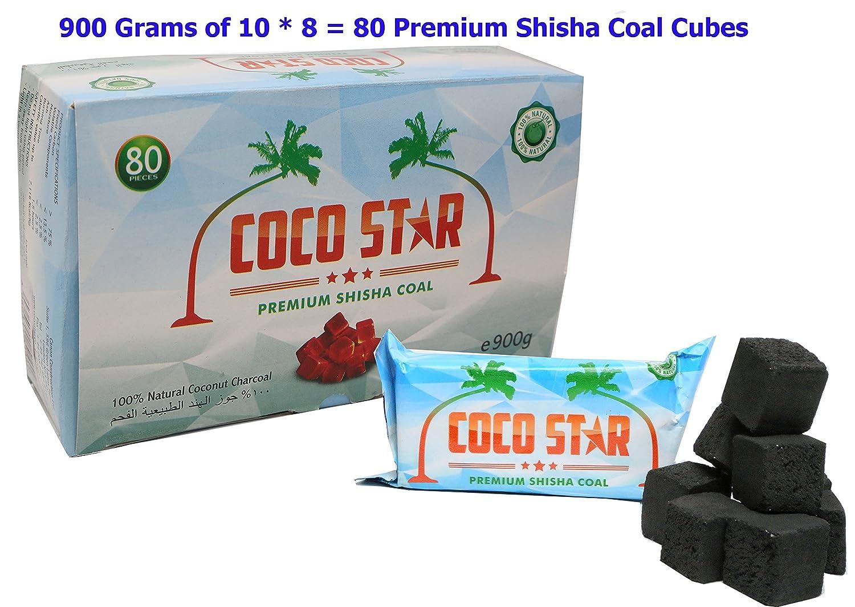 Coco Star 80cubi di carbone per Shisha e Narghilé, di alta qualità,confezione da 10.Più fresco e con un gusto migliore di alta qualità confezione da 10.Più fresco e con un gusto migliore Prime Deals UK 1111