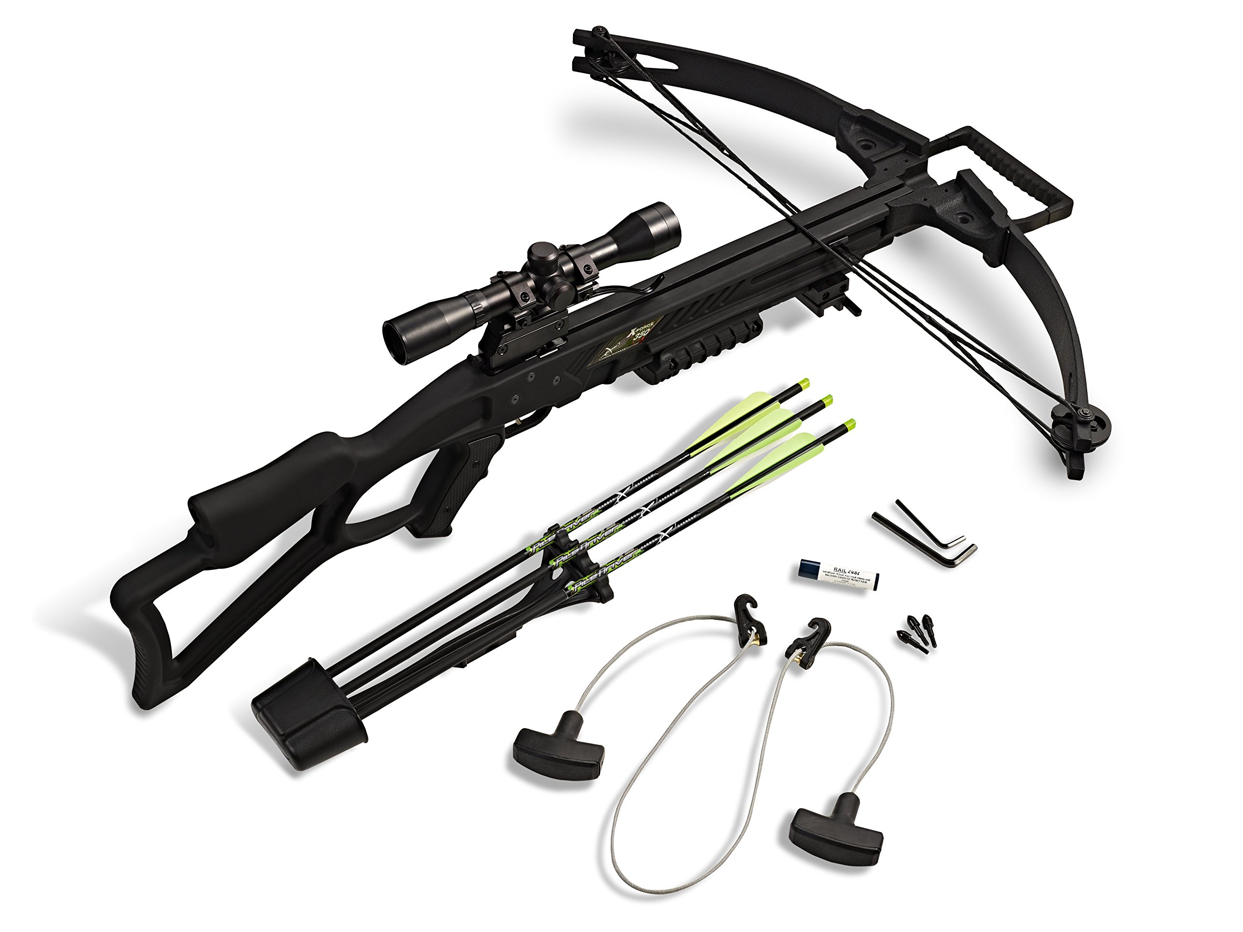Carbon Express 20271 X-Force 350 Crossbow Kit (Rope Cocker, 3 Arrow Quiver, 3 Crossbolts, Rail Lubricant, 3 Practice Points, 4x32 Scope), Black by Carbon Express (Image #5)