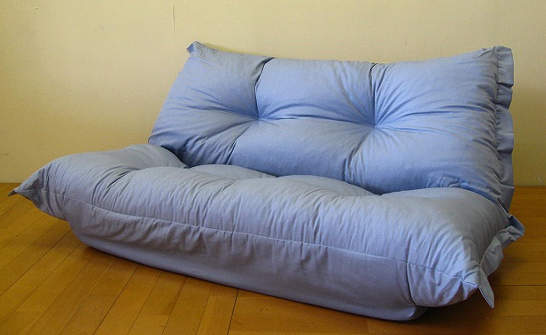 極上ふっくらふかふかソファー 日本製 2人掛け klear 5段階リクライニング [オックス生地:ブルー] B01N6KZ1HO オックス生地 ブルー オックス生地 ブルー