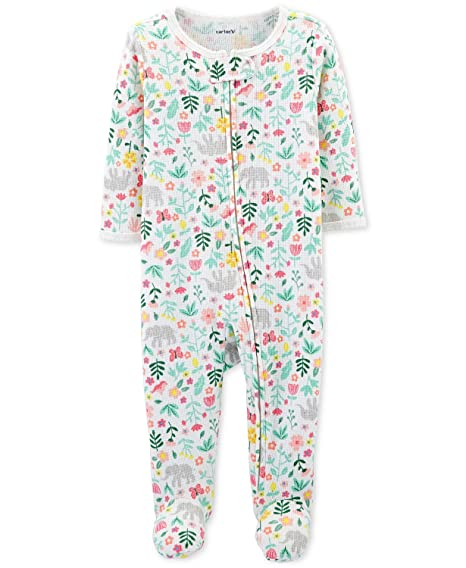 a63e0086cc Carters Baby Thermal Zip-up Sleeper Preemie Elephant and Flowers   Amazon.in  Baby