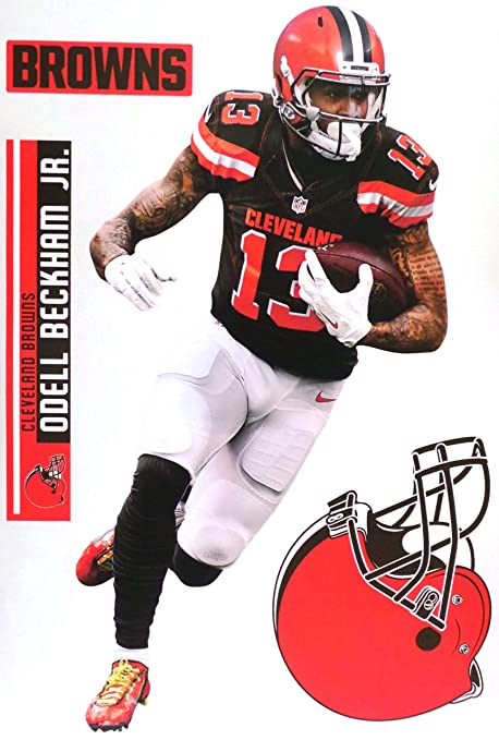 Fathead Teammate Odell Beckham Jr Cleveland Browns Logo Set Official Nfl Vinyl Wall Graphics 17 Inch