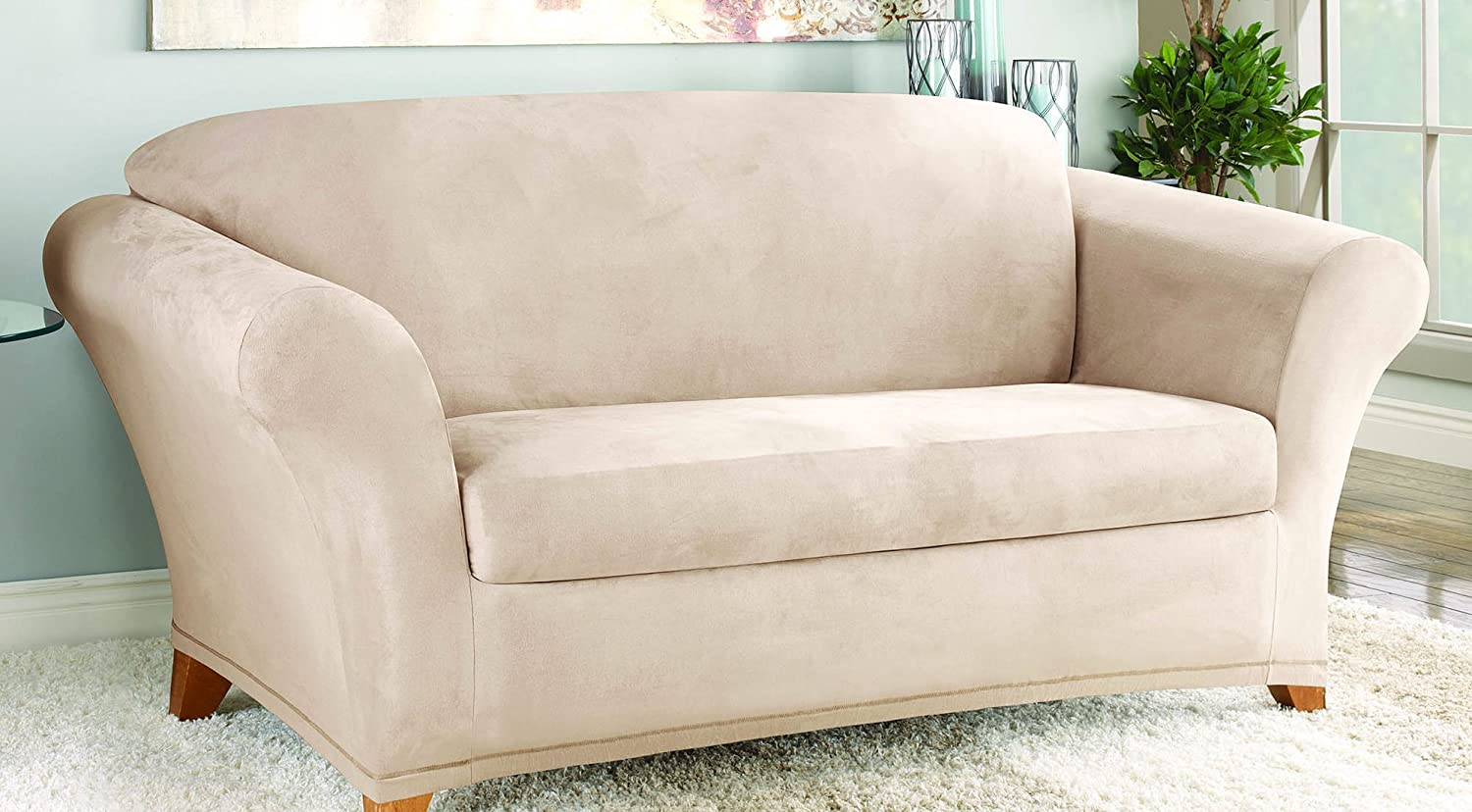 Sure Fit Stretch Suede Loveseat Slipcover - Taupe (SF35544) SureFit