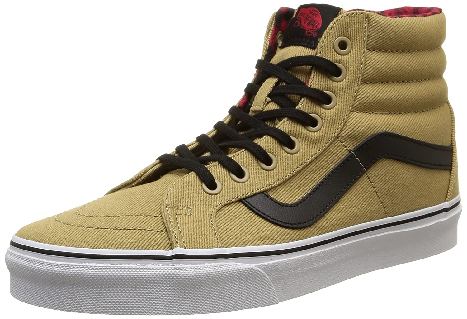 Vans Sk8-Hi Unisex Casual High-Top Skate Shoes, Comfortable and Durable in Signature Waffle Rubber Sole B011JJRPXU 9.5 B(M) US|Cornstalk/Black