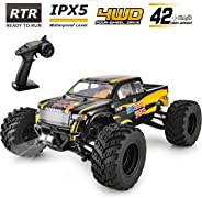 BEZGAR Hobbyist Grade 4x4 Waterproof RC Car, 1:12 Large Size Off Road Remote Control Fast Racing Hobby Car 45 Km/h High Spee