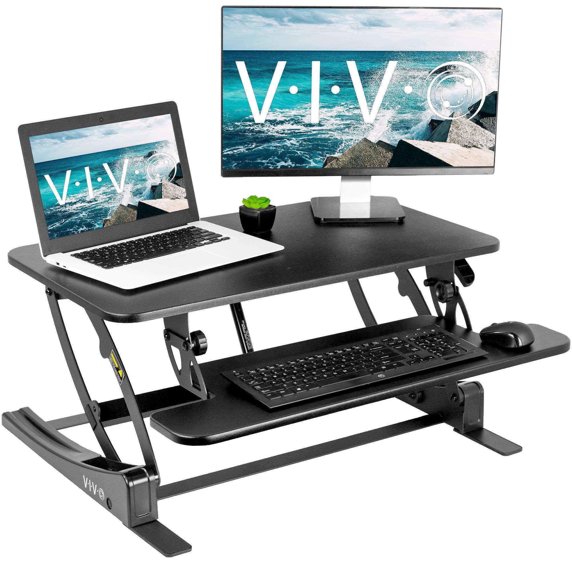 VIVO Black Height Adjustable 32 inch Stand Up Desk Converter   Quick Sit to Stand Tabletop Dual Monitor Riser Workstation (DESK-V000VS) by VIVO