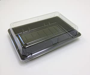 Sushi Trays with Clear Lids Disposable To Go Food Containers 04010 (300, Black)