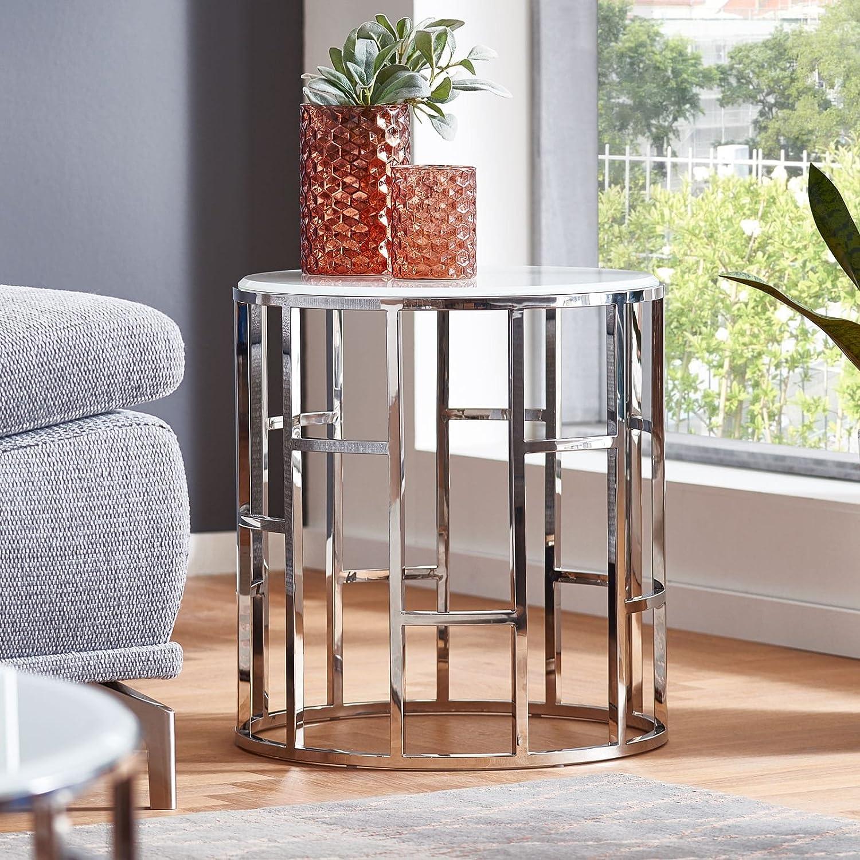 Moebella Designer Glas-Tisch Beistelltisch mit Weiß-Glas Alegra rund Edelstahl Wohnzimmertisch (Glas Weiß)