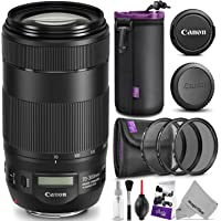 Canon EF 70-300mm f/4-5.6 is II USM Lens w/Essential Photo Bundle - Includes: Altura Photo UV-CPL-ND4, Camera Cleaning Set