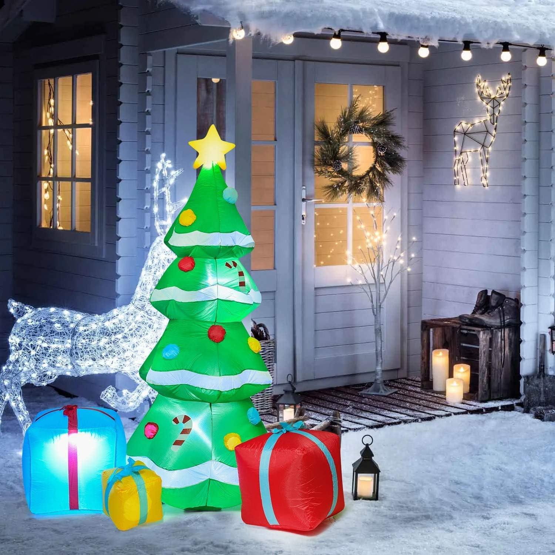 YQing 213cm Árbol de Navidad Inflable Luces LED, Navidad Decoración Arbol de Navidad Autoinflable Eléctrico Iluminado Jardín al Aire Libre Patio Familia Prop Decoración,Enchufe Europeo
