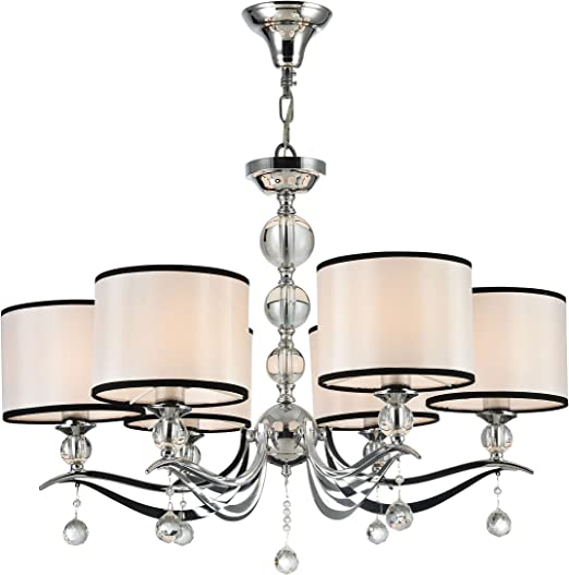 6 Light Crystal Chandelier, Polished Chrome, White Organza Drum Shade