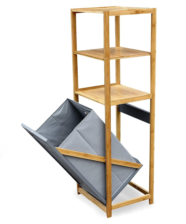 grau osoltus Badregal Bambus Nordic wei/ß//grau mit W/äschefach klappbar W/äschesammler 130cm