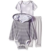 Hanes Ultimate Baby Flexy Knit Jogger with Hoodie and Short Sleeve Crew Set, Grey Stripe 6-12 Months