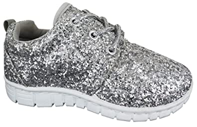 3140ab62262a6 Image Unavailable. Image not available for. Colour  EYESONTOES Kids Girls  Glitter Silver LACE UP Lightweight Trainers ...