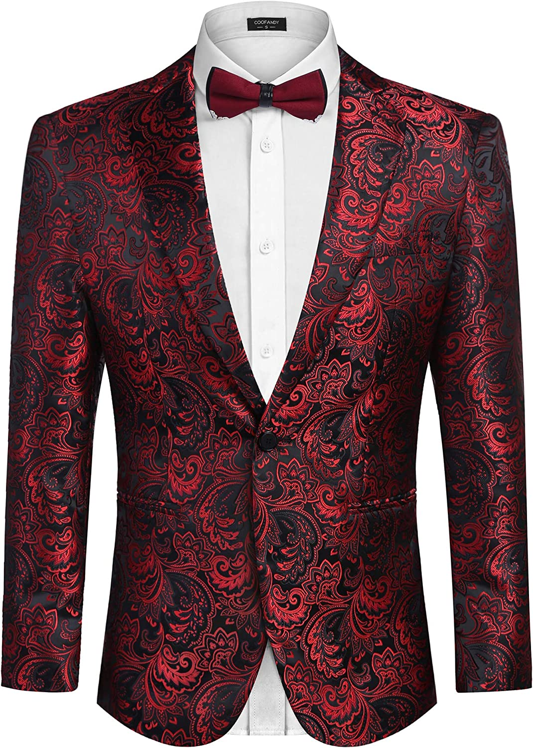 COOFADNY Mens Floral Tuxedo Jacket Slim Fit Shawl Collar Dress Suit Blazer