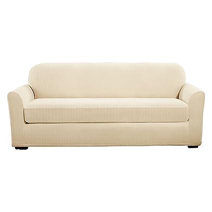 Sure Fit Stretch Pinstripe 2 Piece   Sofa Slipcover   Cream (SF39074)