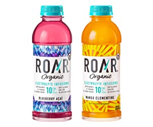 Roar Organic Electrolyte Infusions - USDA Organic with Antioxidants, B Vitamins, Low-Calorie, Low-Sugar, Low-Carb, 2 Flavor Variety, Coconut Water Infused Beverage 18 Fl Oz (Pack of 24)
