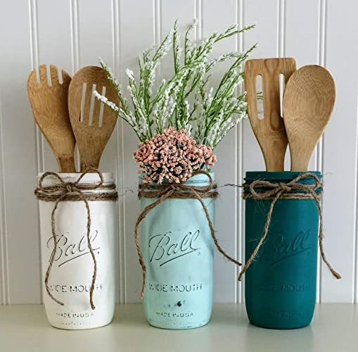 Mason Jar Utensil Holder Set 3 Piece White Aqua Teal Kitchen Decor