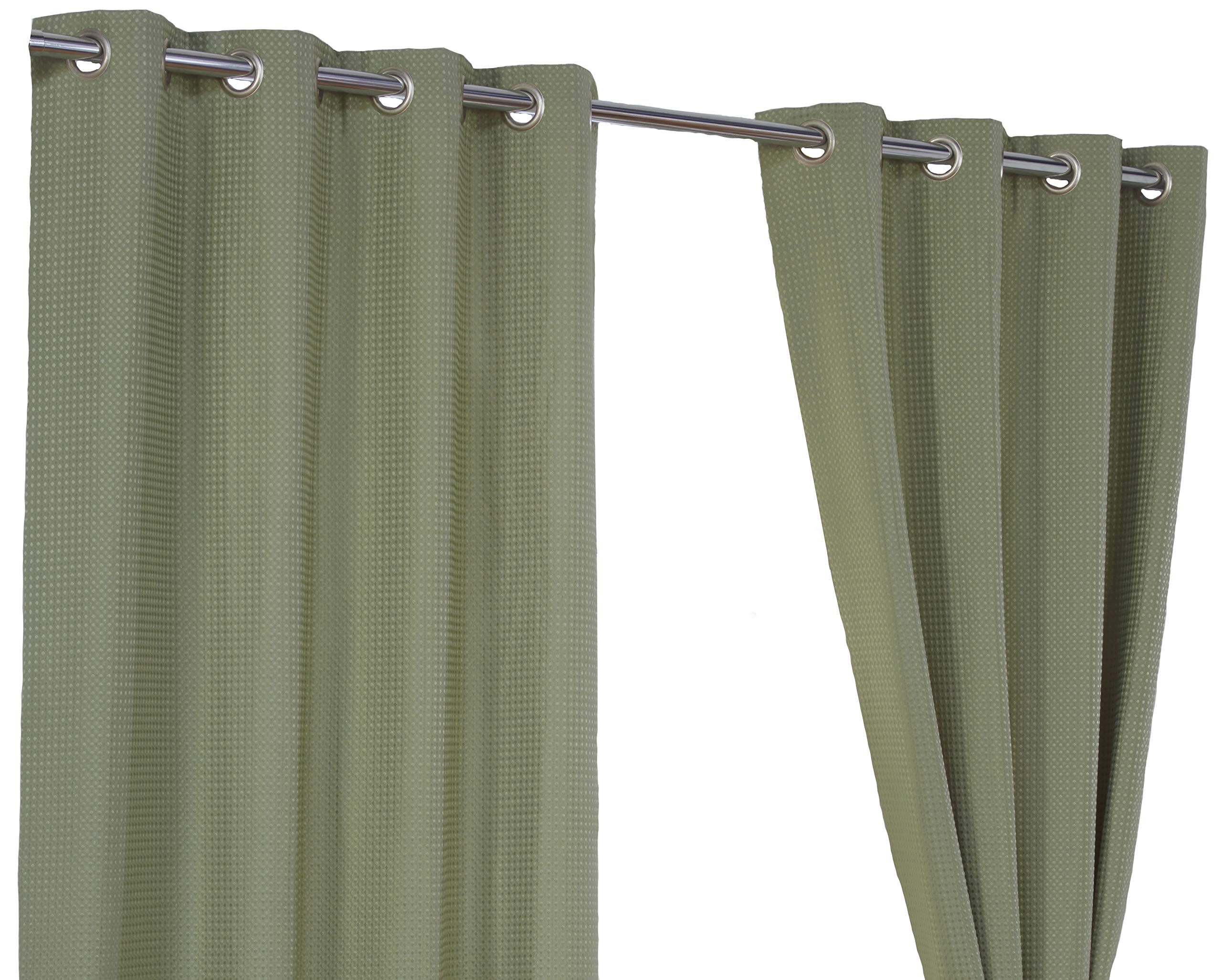 Waffle Green Ring Top Eyelet Fully Lined Readymade Curtain Pair 46x54in116x137cm Approximately