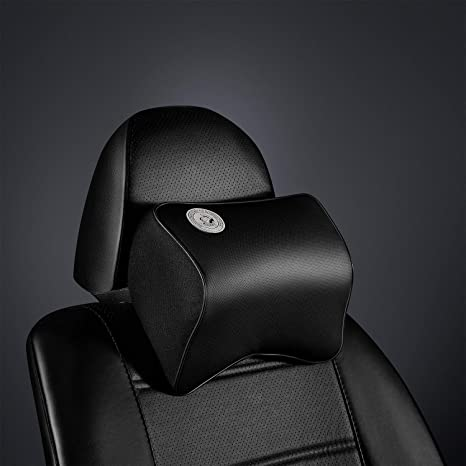 Breathable Cervical Pillows for Comfortable Driving Grey-Black Memory Foam Neck Support Pillow for car Seat Car Neck Pillow Adjustable Car Headrest Cushion for Neck Vertebra Protect