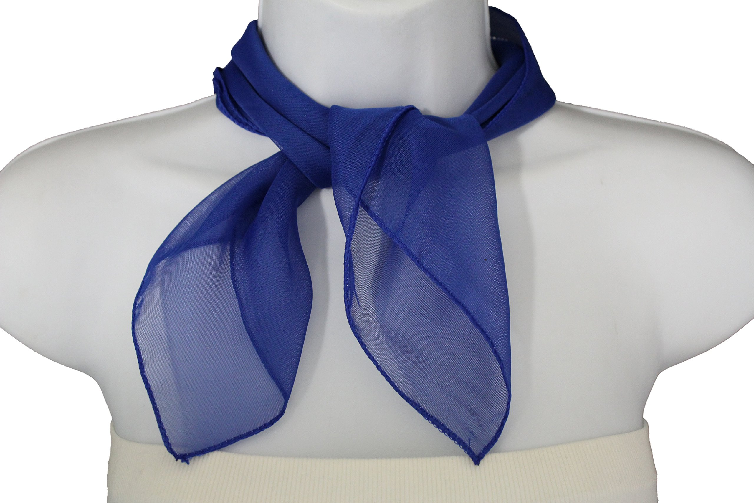 TFJ Women Fashion Neck Scarf Sheer Soft Basic Fabric Pocket Square Fun Style (Blue)