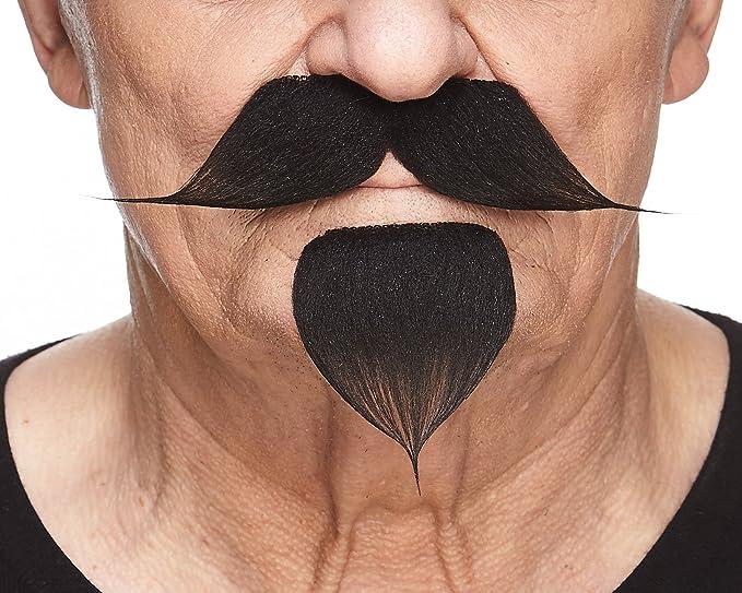 High quality false self adhesive Handlebar with a goatee