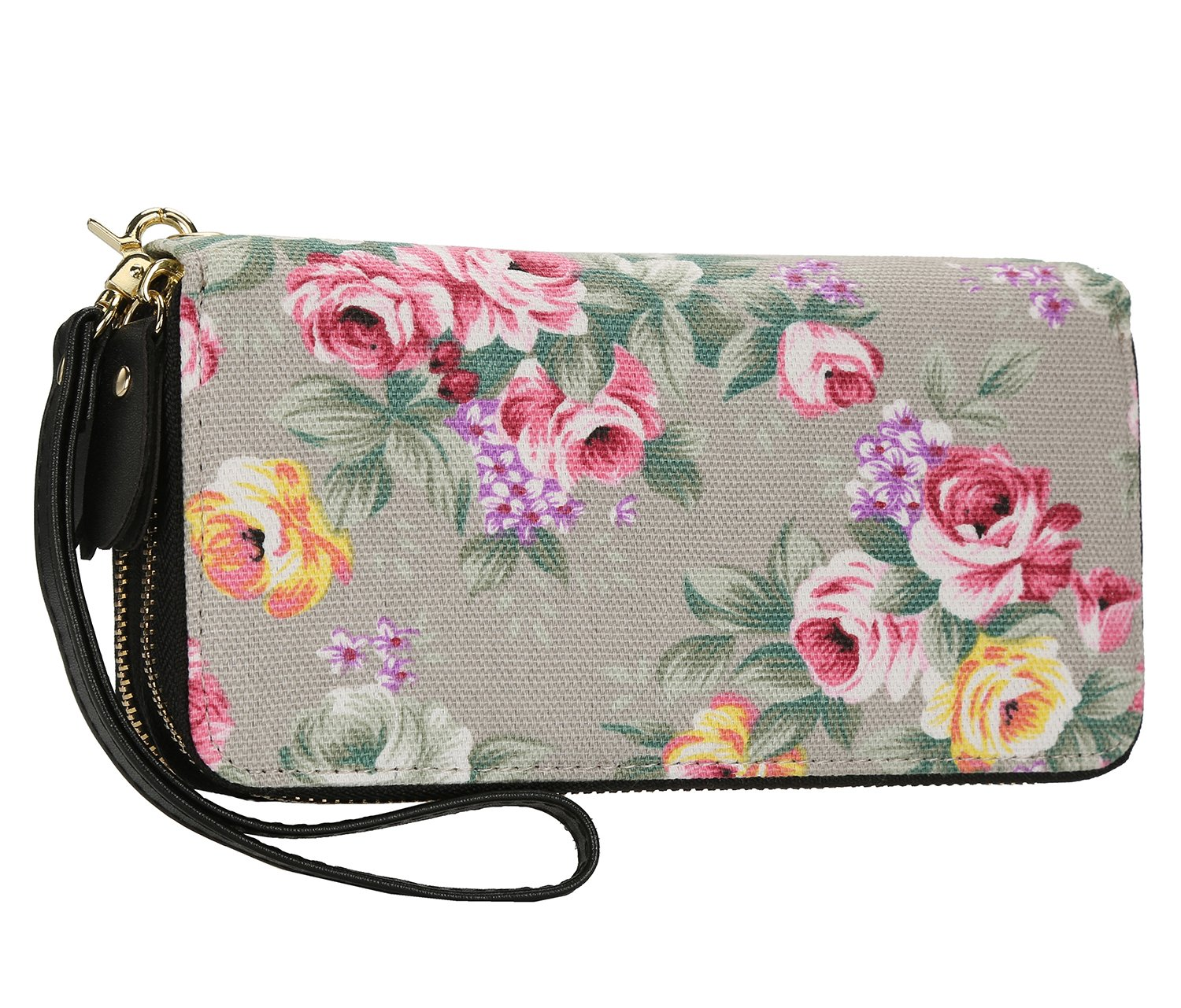 Women Floral Wallet Zipper Canvas Purse Long Clutch Bag Flower with Coin Pocket and Strap (Large, Beige Floral)