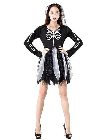 IKALI Kinder Skelett Kostüm, Mädchen Halloween Overall Kleid ...