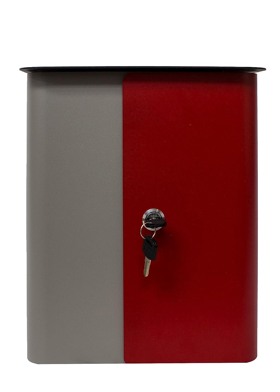 Qualarc wf-1515 Vista長方形ロックメールボックスグレーボディ、レッドドアとブラックトップ、グレー/レッド/ブラック   B01LY6P5L9