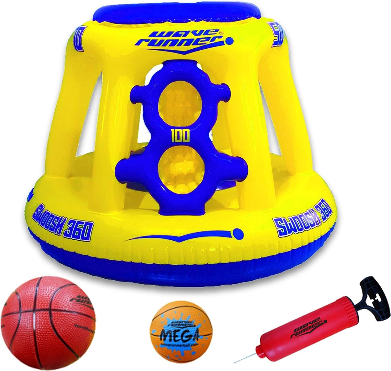 Wave Runner Swoosh 360 Swimming Pool Basketball Hoop Set by WAVERUNNER Yellow//Blue