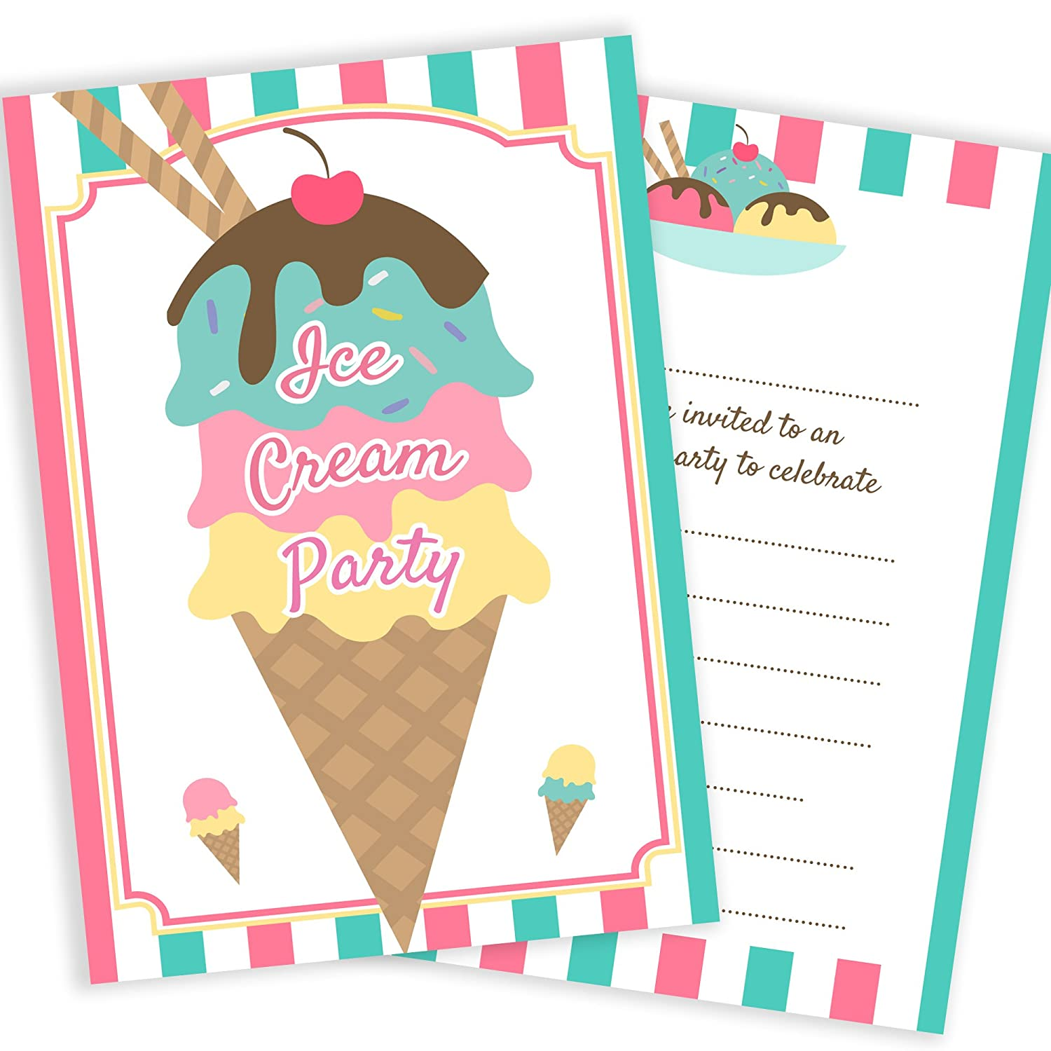 Olivia Samuel Ice Cream Party Invitations Ready To Write With Envelopes Pack 10