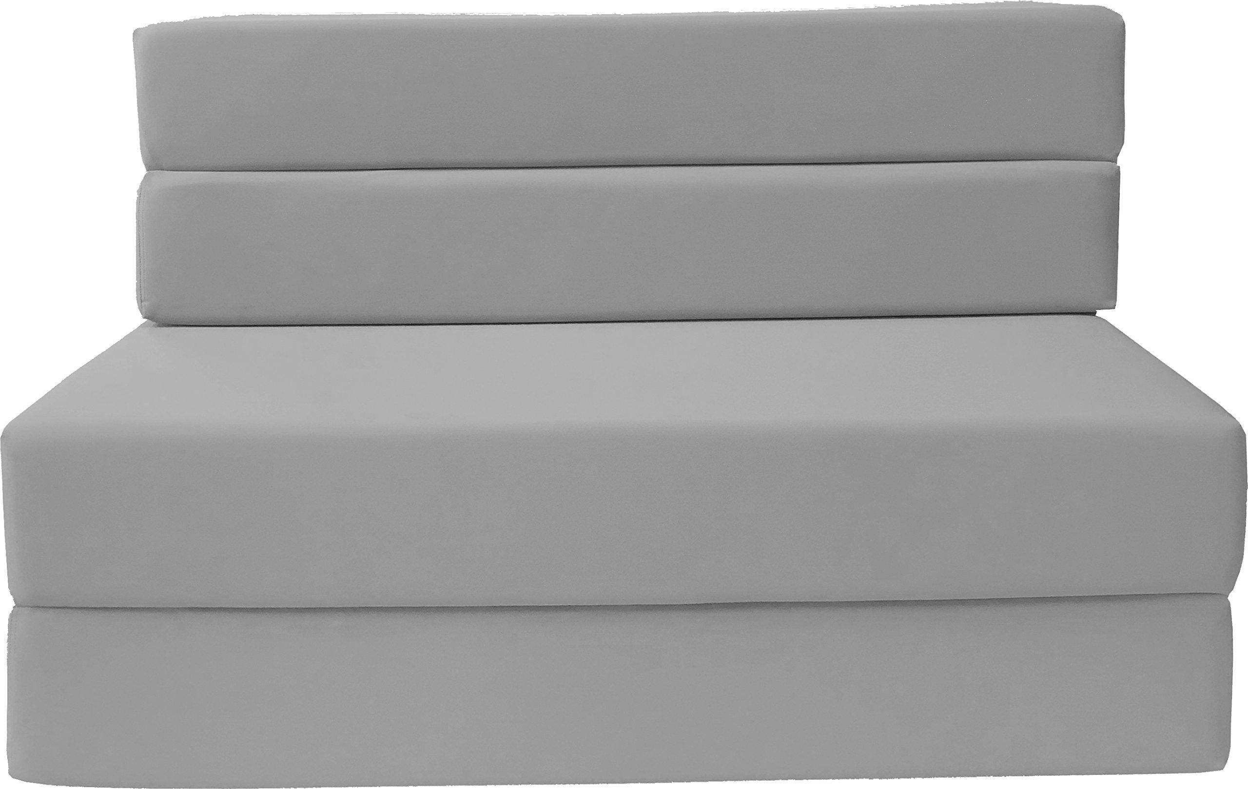 D&D Futon Furniture Folding Foam Mattress, Sofa Chair Bed, Guest Beds (Twin Size, Gray) by D&D Futon Furniture