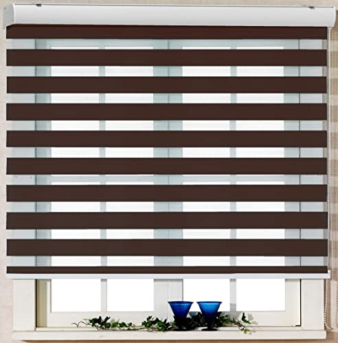 Foiresoft Custom Cut to Size, Winsharp Basic, Mocha,W 61 x H 82 inch Zebra Roller Blinds, Dual Layer Shades, Sheer or Privacy Light Control, Day and Night Window Drapes, 20 to 110 inch Wide