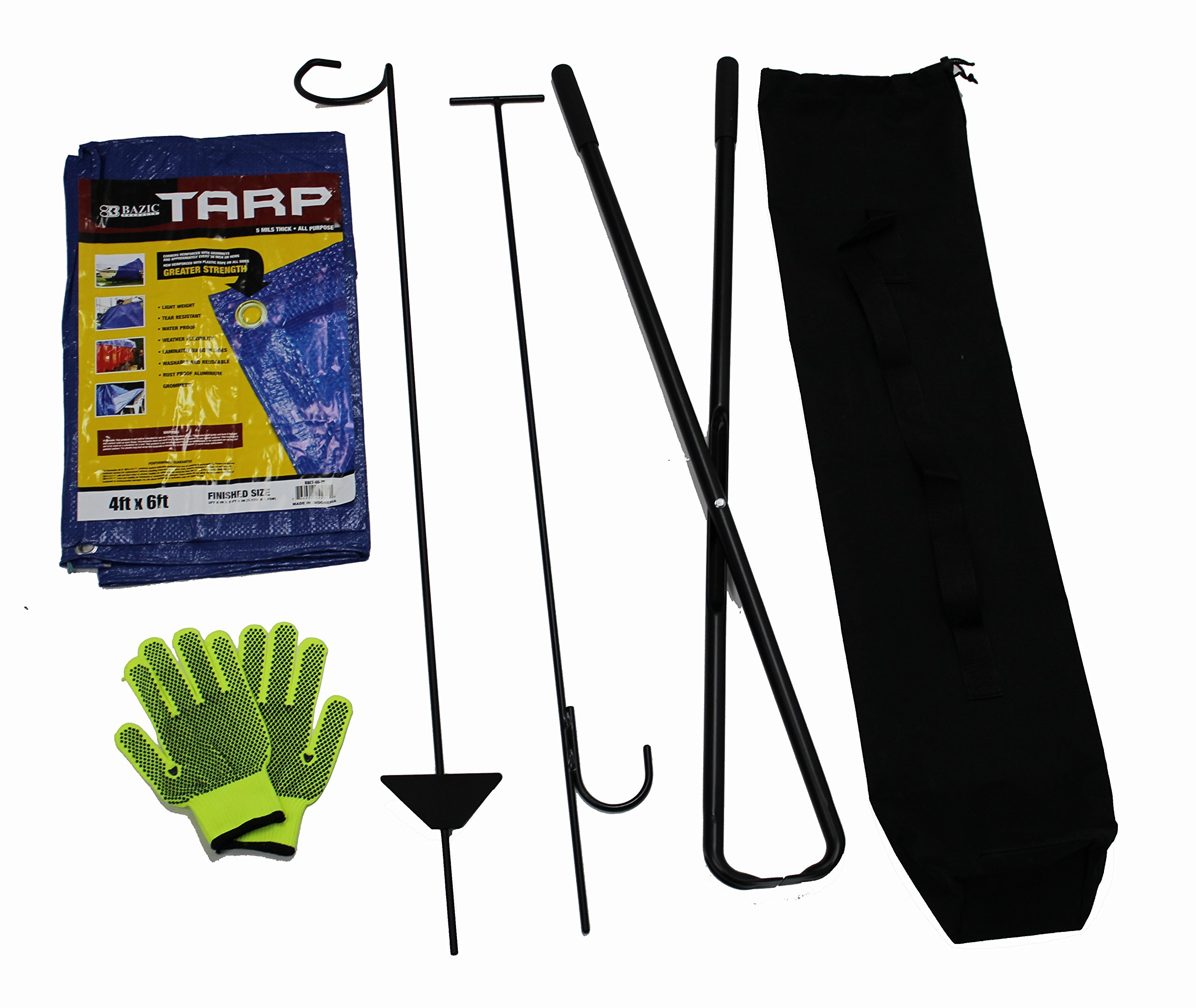 World Outdoor Products Six Piece Fire Pit Tools Set with Handcrafted, Black Powder Coated, 40'' Steel Tools, Gloves, Tarp and Carry Bag