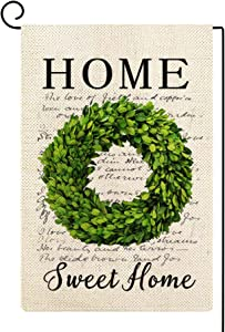 Molili Small Welcome Boxwood Wreath Garden Flag Burlap Vertical Double Sided,Farmhouse retro Vintage Summer Spring Home Sweet Home Yard Outdoor Decoration,Seasonal Outdoor Flag 12.5 x 18inch