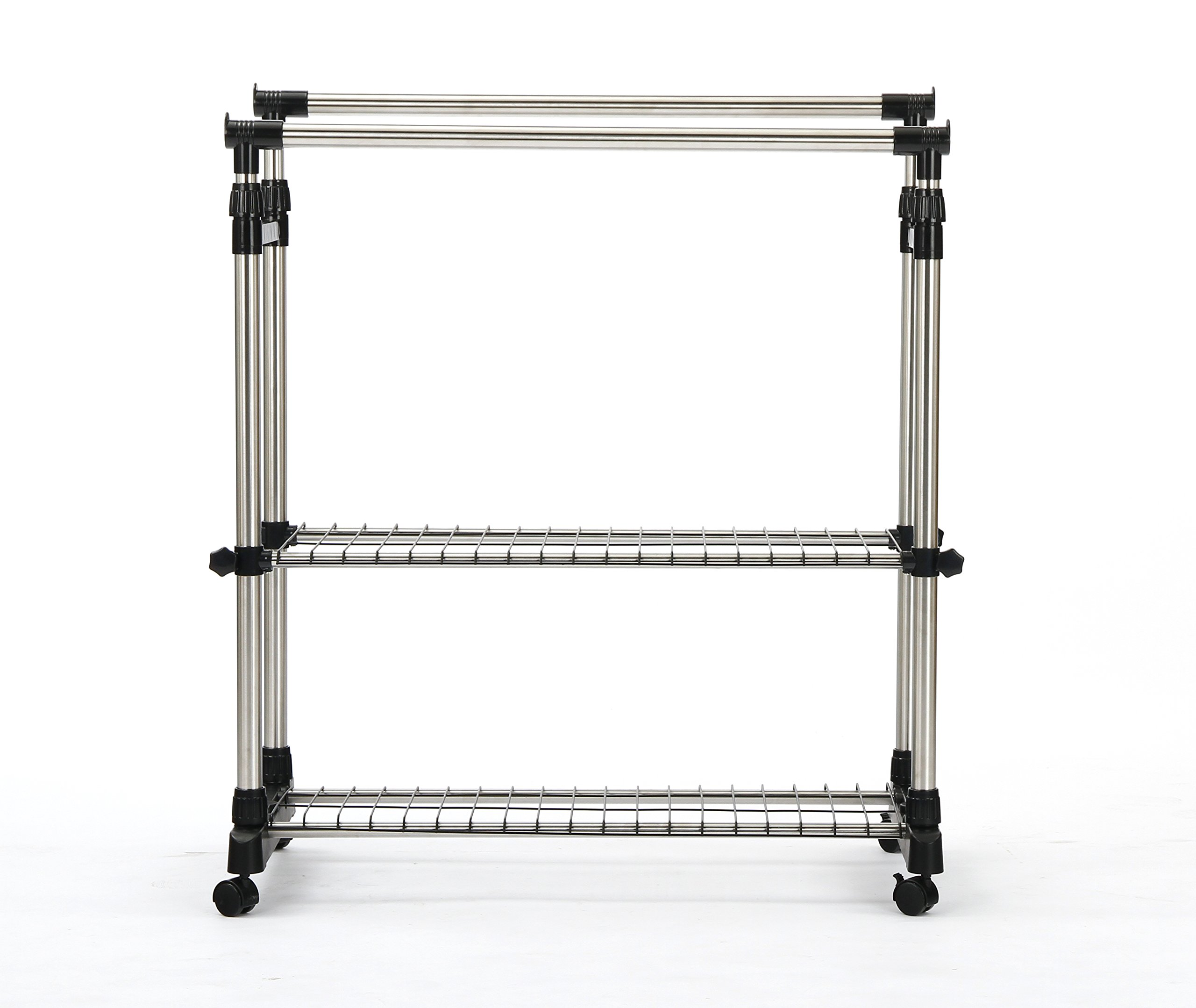 SUNPACE Clothing Garment Rack Heavy Duty SUN004 Double Hanging Rod Garment Rack With Shelves