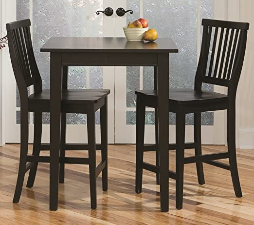 Home Styles Arts and Crafts Black Three-piece Pub Table and Chairs/Stool  Set with Slatted and Curved Back, Carved Seat, and Solid Hardwood ...