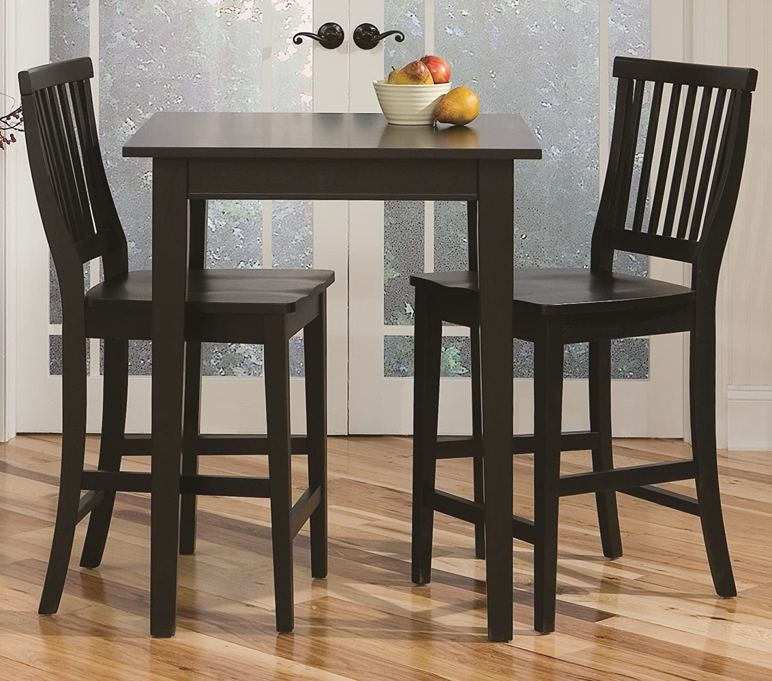 Super Arts And Crafts Black 3 Piece Pub Table And Chairs Stool Set By Home Styles Onthecornerstone Fun Painted Chair Ideas Images Onthecornerstoneorg