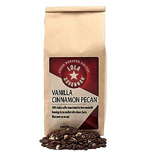 Lola Savannah Vanilla Cinnamon Pecan Whole Bean Coffee - Classic Combination | Smooth & Flavorful Gourmet Coffee Blend | Caffeinated | 2lb Bag