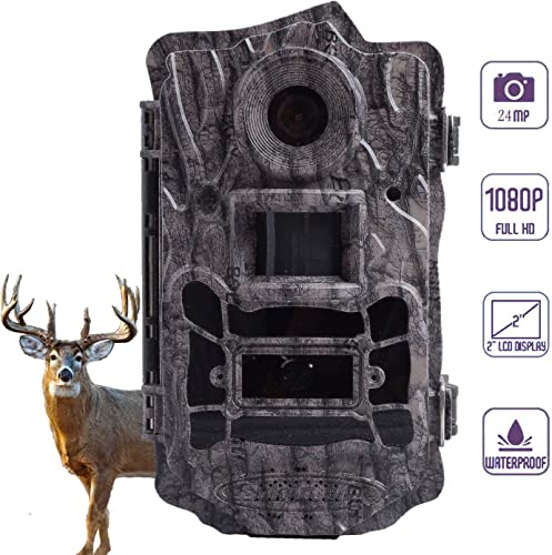 Hunting Trail Game Camera,Scouting Camera 2 LCD 100FT Detection Range White Flash LED Trail Cameras Support Color Picture and Video at Night 24MP
